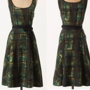 Anthropologie painted plaid dress